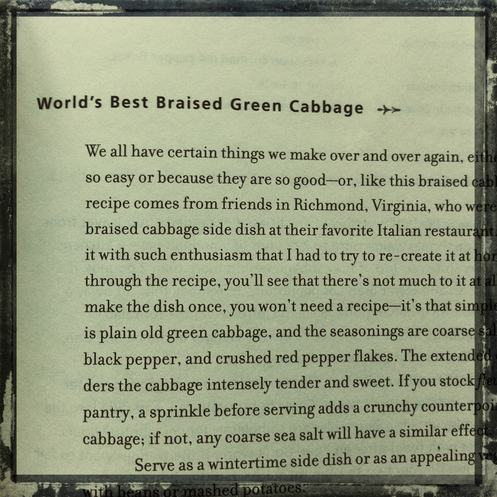... recipe for green cabbage, World's Best Braised Green Cabbage