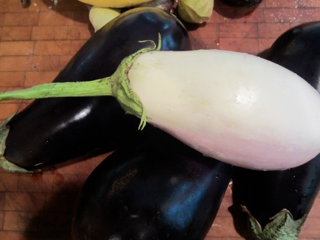 A pile of eggplants waiting for me to get to them