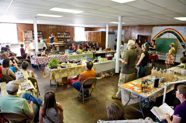 "Elizabeth Barbone giving her 'how to cook for someone gluten free"" at our May troy Food Swap. Photo by Tim Raab"