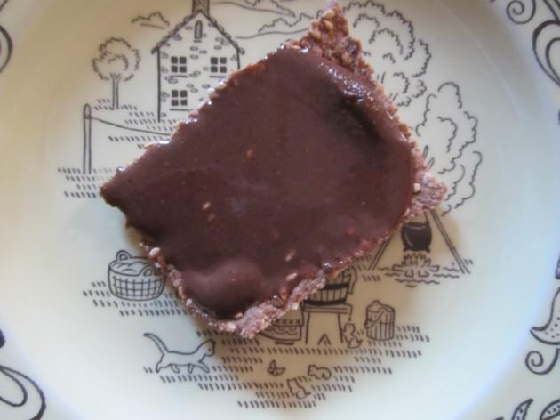 Chocolate pecan butter on a homemade cracker