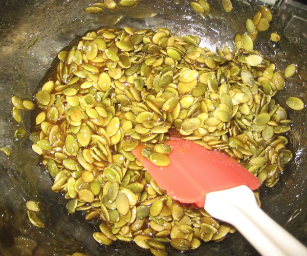 Pumpkin Seed Brittle - Stir in seeds.J