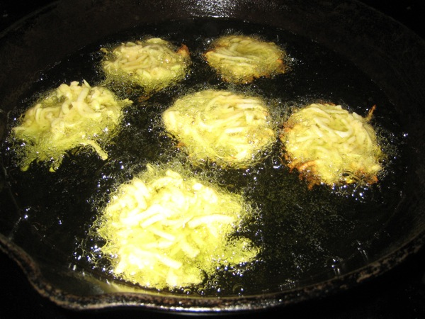 kohlrabi fritters, frying like latkes in hot oil