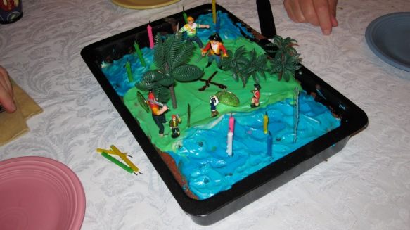 A pirate sheet cake, no beach in this one
