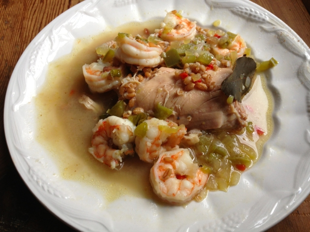 Chicken and Shrimp Farro Gumbo