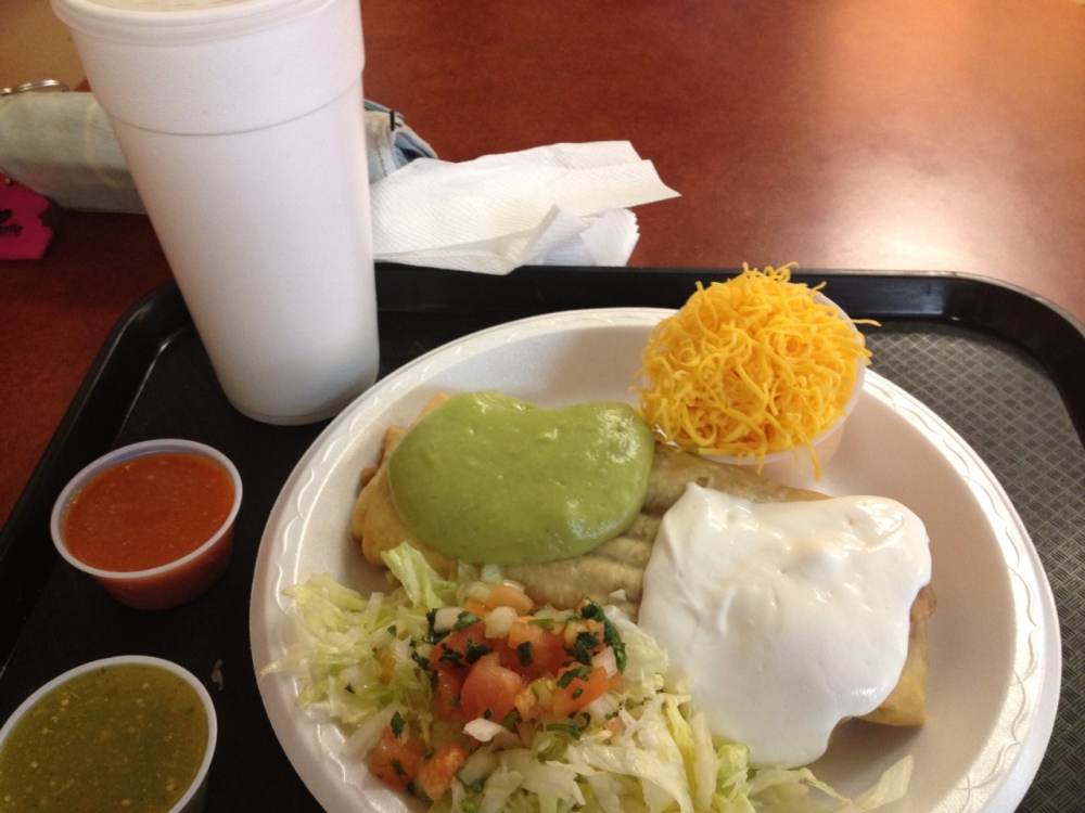 The meal I had shortly after arrival. There's horchata in that big, white cup.