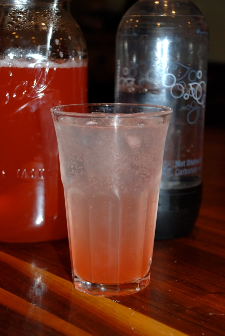 Syrup and club soda on ice-Look at that color!!!
