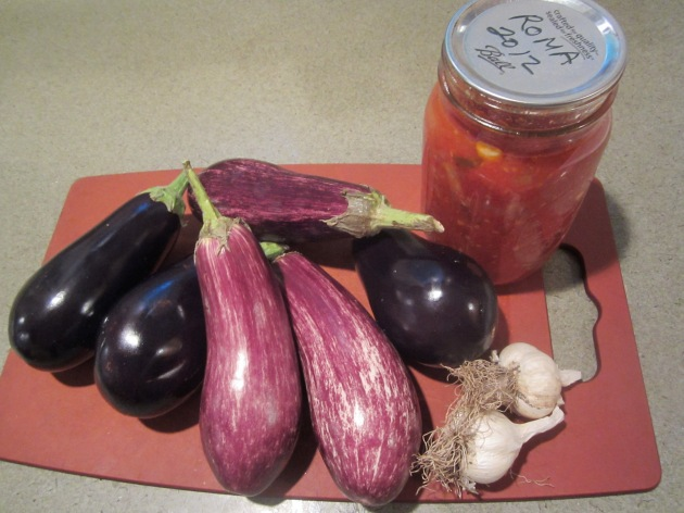 eggplants, last year's tomatoes and last year's soft neck garlic, still good