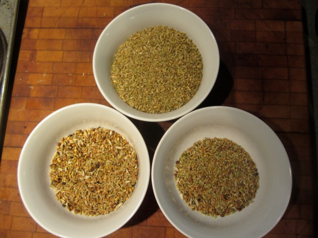 Clockwise from top:  commercial freekeh, homemade Gruenkern, homemade freekeh