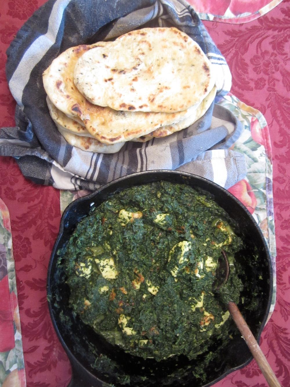 Naan with palak paneer