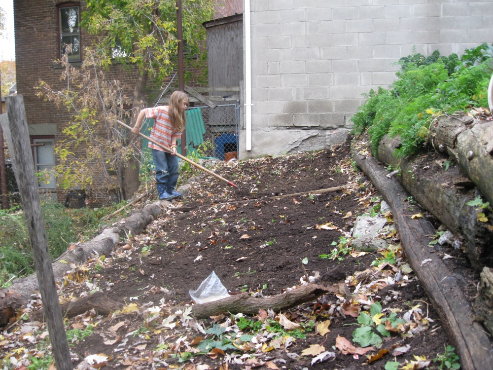 Prepping the bed in the fall.